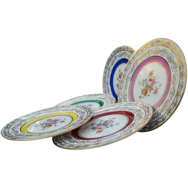 Mid 20th Century Vintage Colorful Porcelain Plates- S/5 For Sale - Image 5 of 8