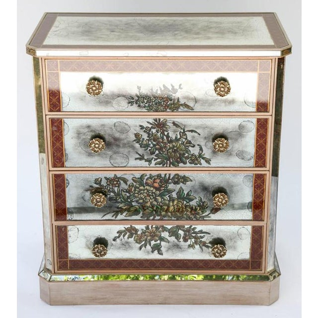 Aesthetic Movement 1940s Églomisé Mirrored Chest of Drawers - a Pair For Sale - Image 3 of 13