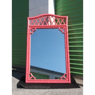 Palm Beach Flamingo Pink Faux Bamboo Wall Mirror Preview