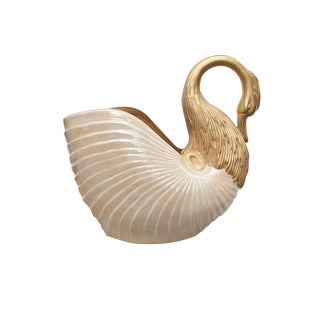 Italian Ceramic Swan Planter For Sale