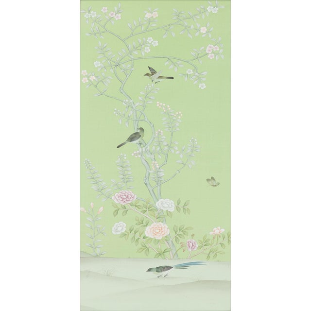 Hand-painted on pale sky blue silk, this pair of diptych panels feature traditional Chinoiserie style botanicals rendered...
