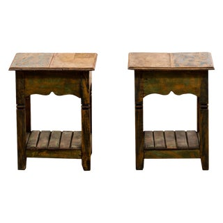 Reclaimed Solid Wood Side Tables - A Pair For Sale