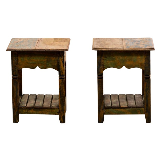 Reclaimed Solid Wood Side Tables - A Pair - Image 1 of 5