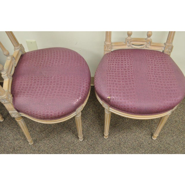 Vintage French Louis XVI Style Drape & Bow Carved Painted Dining Chairs - Set of 4 - Image 9 of 11
