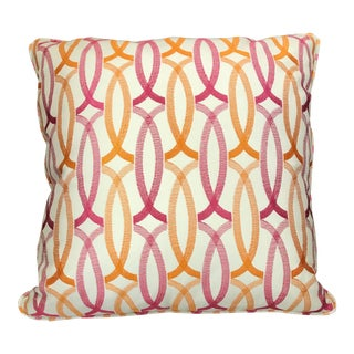 Ivory Pink and Orange Pillow