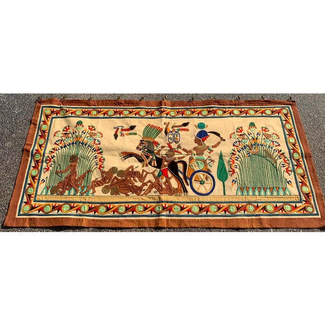French Grand Tour Egyptian Tomb Tapestry, circa 1925 Intricate and well executed, in vibrant vegetable dyed cotton...
