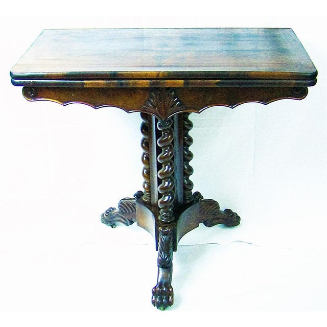 19c British Fold Over Card Table With Tripod Barley Twist Columns For Sale - Image 11 of 12