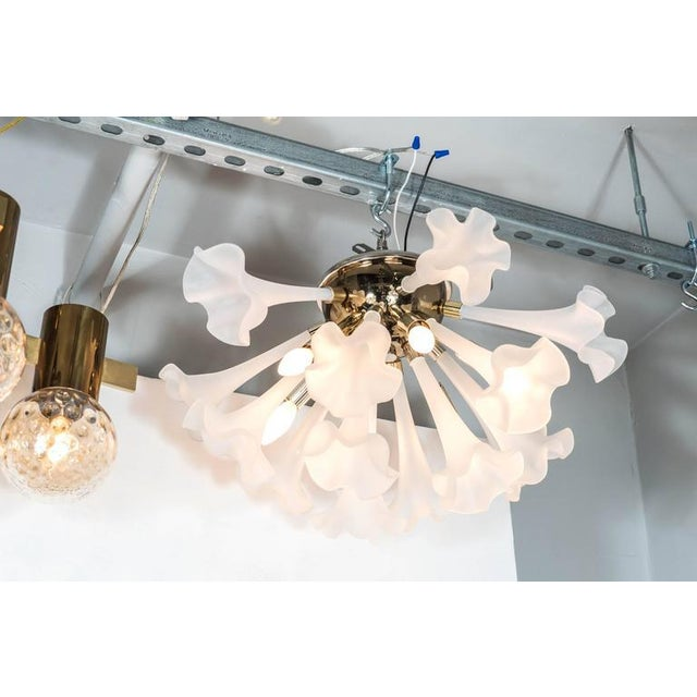 Handblown Flush Mount Murano Chandelier in Brass with Frosted Glass Flowers - Image 2 of 9