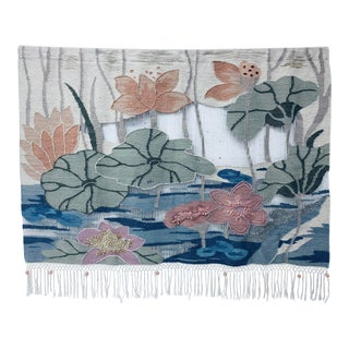 Mid-Century Lily Pond Woven Wall Tapestry, 1970s For Sale