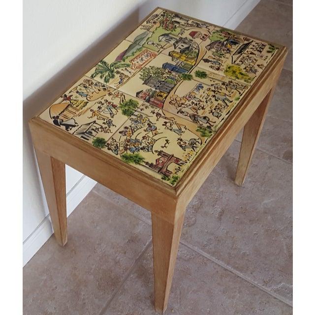 S Art Deco Cuban Scenes Tile Lime Wood Table Chairish - Cuban tile for sale