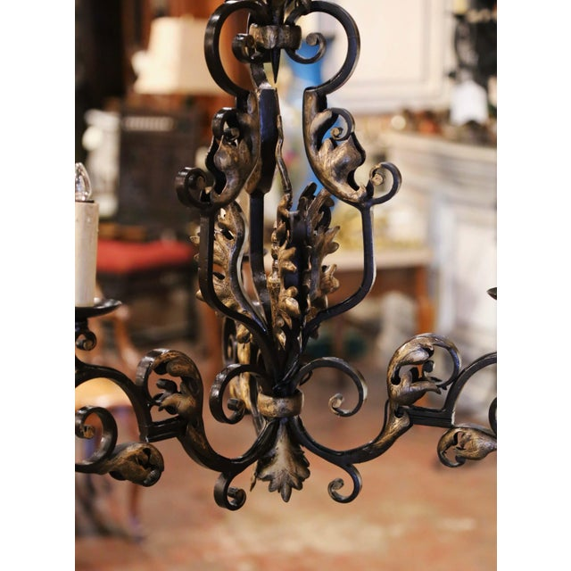 French 19th Century, French Louis XV Iron Black and Gilt Painted Three-Light Chandelier For Sale - Image 3 of 9