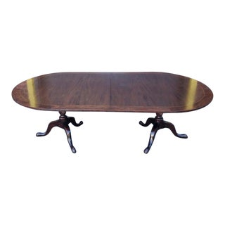 Very Fine Antique Banded Mahogany Pedestal Dining Room Table W/ 5 Leaves C1900 For Sale