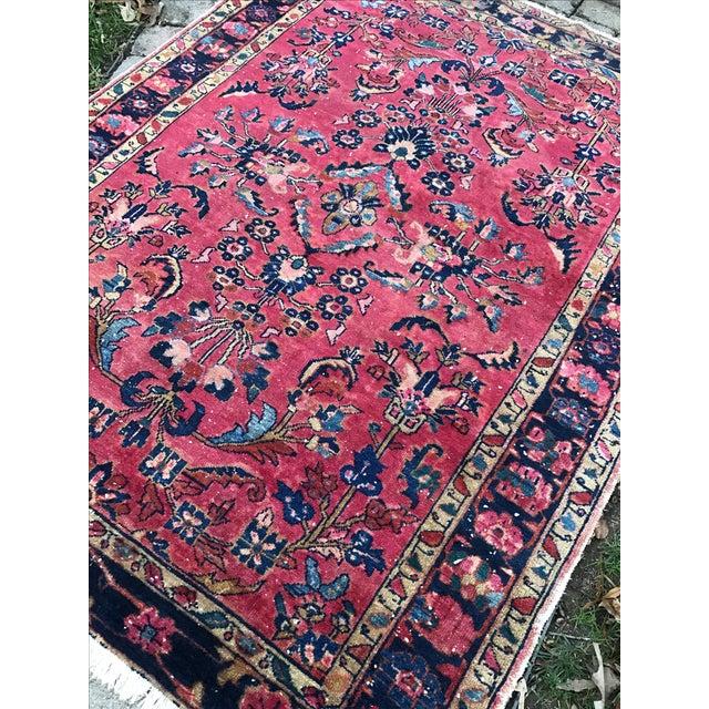 "Vintage Persian Sarouk Rug - 5'1""x 6'7.5"" - Image 4 of 5"