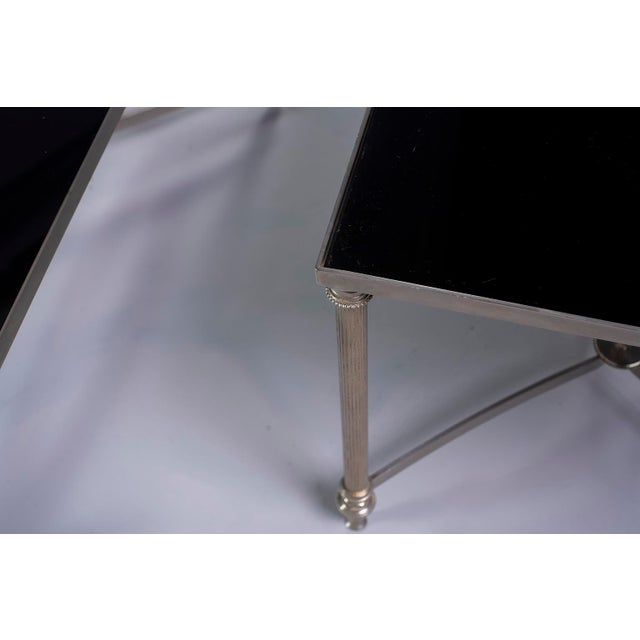 French Pair French Black Glass Cocktail Tables For Sale - Image 3 of 11