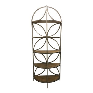 Organic Modern Carved Wood and Metal Etagere/Shelf For Sale