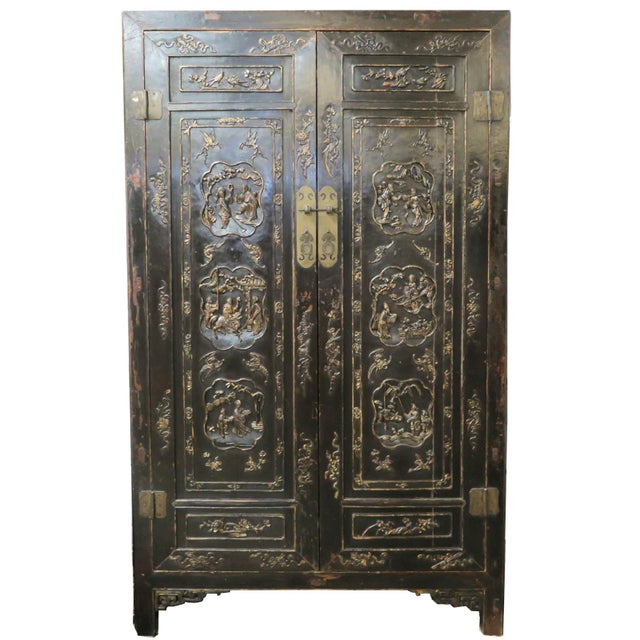 Antique Chinese Black Wedding Wardrobe Cabinet With Gold Carvings For Sale - Image 12 of 12
