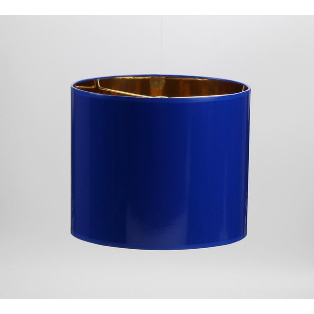 High Gloss Drum Lamp Shade Made To Order: 1-2 week lead time Individually hand-made Exterior Color: Cobalt Blue (Pantone...