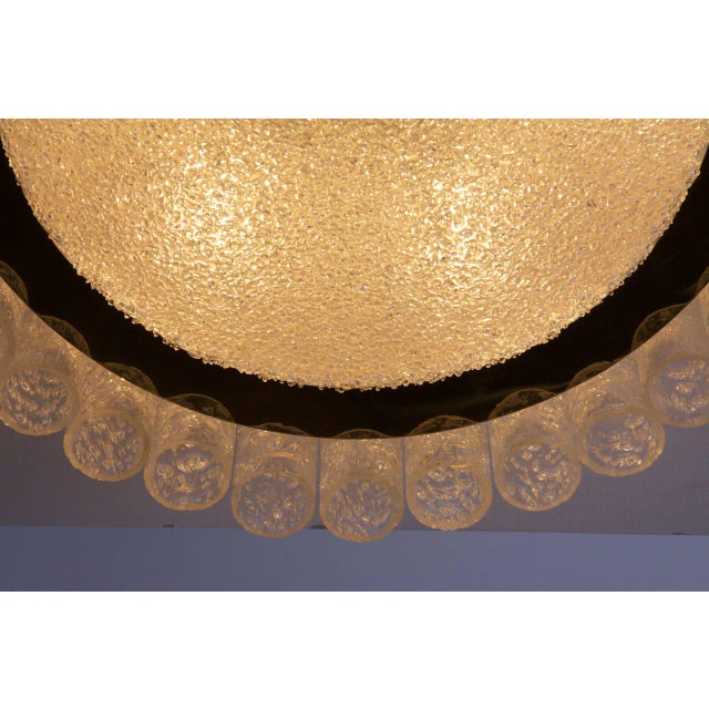 Pair of Large Doria Glass Flush Mounts or Sconces with Brass Surround For Sale - Image 4 of 8