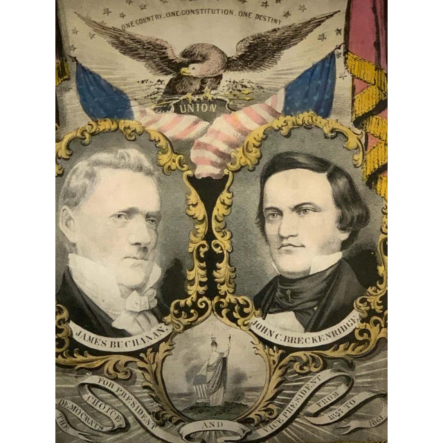 1856 N. Currier Buchanan & Breckenridge Grand National Democratic Banner For Sale In West Palm - Image 6 of 11