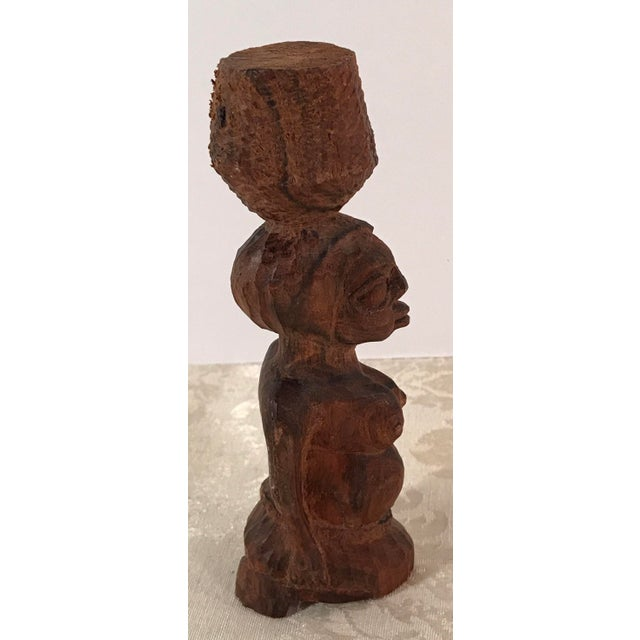 Tribal Hand Carved Woman Sculpture - Image 4 of 8