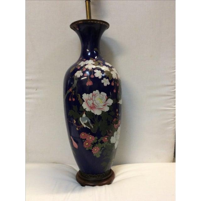 Asian Blue Japanese Cloisonné Lamp For Sale - Image 3 of 11