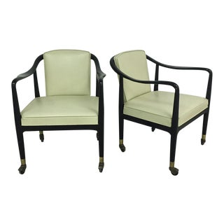 Mid-Century Black Lacquer & Vinyl Lounge Chairs - a Pair