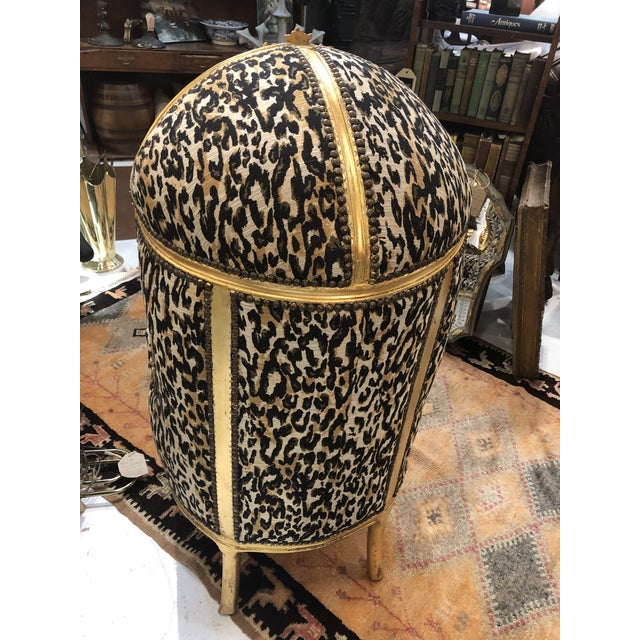 18th Century Antique French Louis XV Porter Child or Pet Chair With Leopard & Rivet Upholstery For Sale - Image 4 of 13