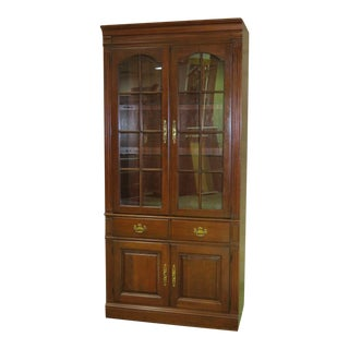 1970s Traditional Pennsylvania House Cherry Two Door Lighted Curio/Cabinet/Bookcase For Sale
