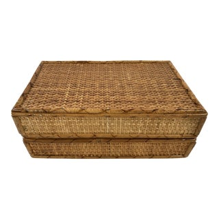 Vintage Cane and Bamboo Hinged Box For Sale