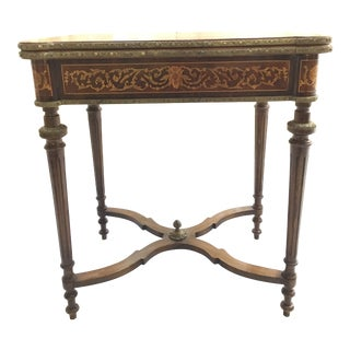 1900s Traditional Inlay Woodwork and Bronze Game Table For Sale