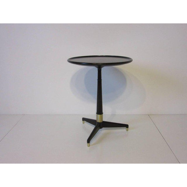Black Ebony Finished with Brass Tri Pod Based Midcentury Side Table For Sale - Image 8 of 9