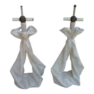 John Dickinson Style Draped Lamps - a Pair For Sale
