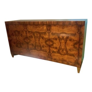 Large Burled Walnut Cabinet With Gold Accents For Sale