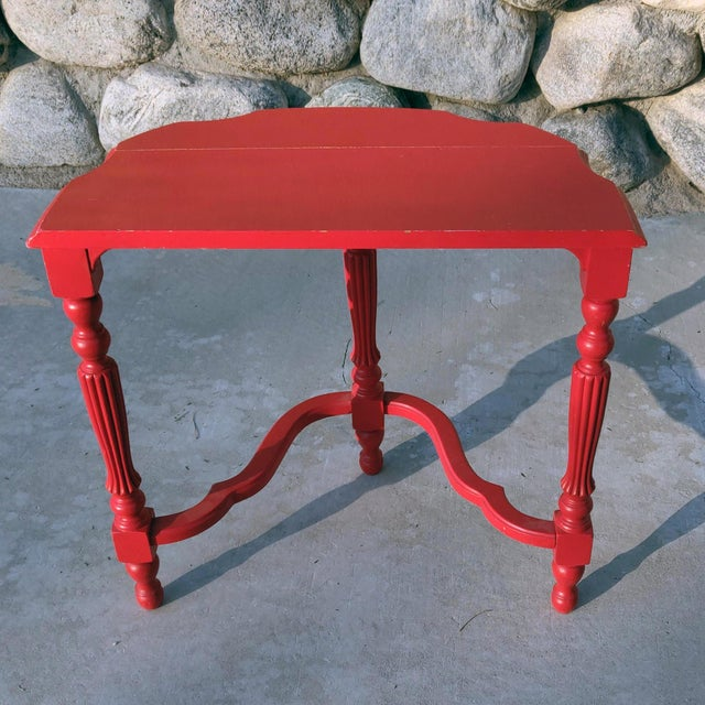1990s 19th Century French County Fire-Engine Red Painted Demi-Lune Table For Sale - Image 5 of 6