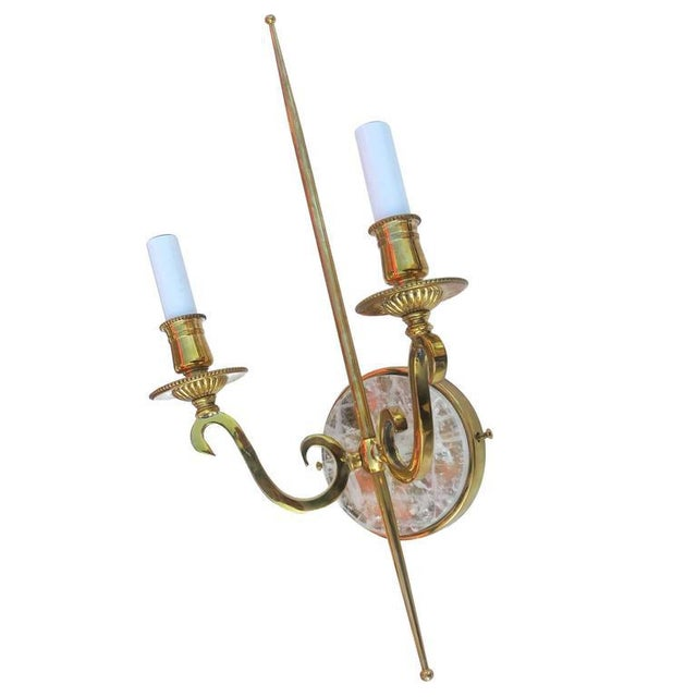 High Style Double Arm Wall Sconce with Solid Brass and Rock Crystal Stone - Image 4 of 7