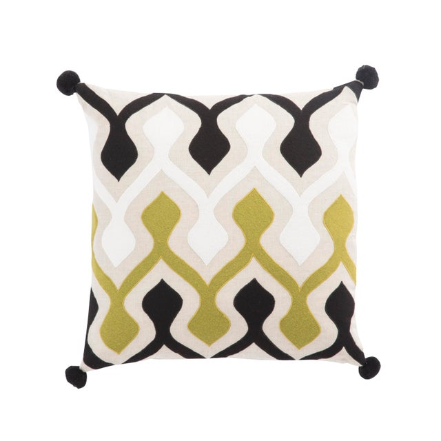 Contemporary Nikki Chu by Jaipur Living Ophelia Green/ Ivory Graphic Down Throw Pillow For Sale - Image 3 of 3