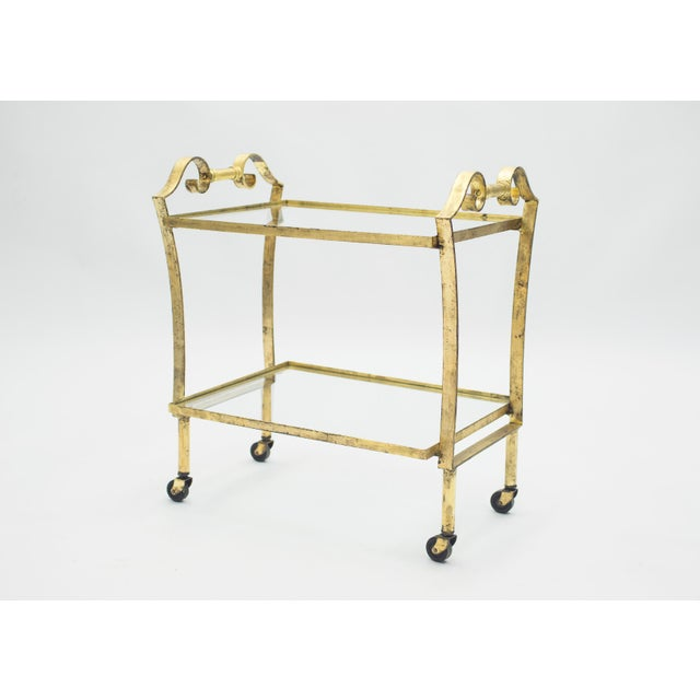 Metal French Neoclassical Maison Ramsay Gilded Iron Bar Cart 1940s For Sale - Image 7 of 12
