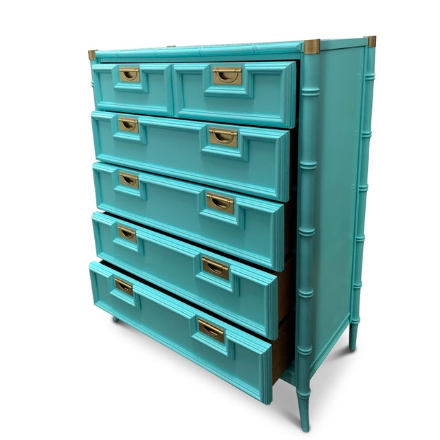 Vintage Century Furniture Chinoiserie Aqua Faux Bamboo Highboy Dresser For Sale In Chicago - Image 6 of 9