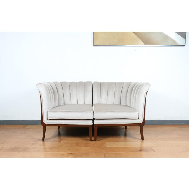 Mohair Hollywood Regency Pair of Chairs For Sale - Image 10 of 13