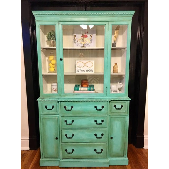 French Country Vintage Green China Cabinet For Sale - Image 3 of 8