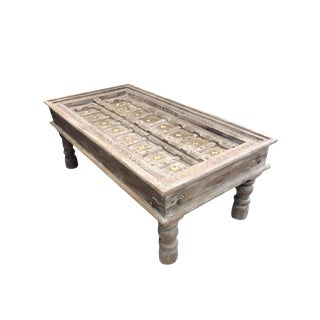 Antique Rustic Doors Gray Handcarved Coffee Chai Table For Sale