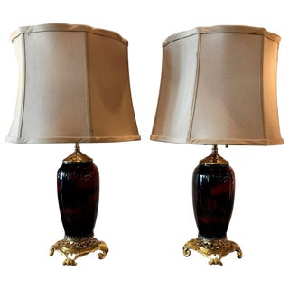 1900s Edwardian Flambe Doulton Lamps With Ormolu Mounts - a Pair For Sale
