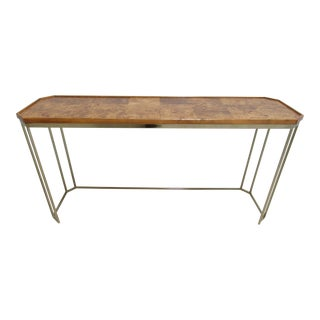 Vintage Mid-Century Burl Wood Brass Sofa Hall Foyer Table Console
