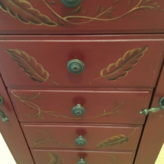 Tall Red Jewelry Chest For Sale - Image 11 of 12