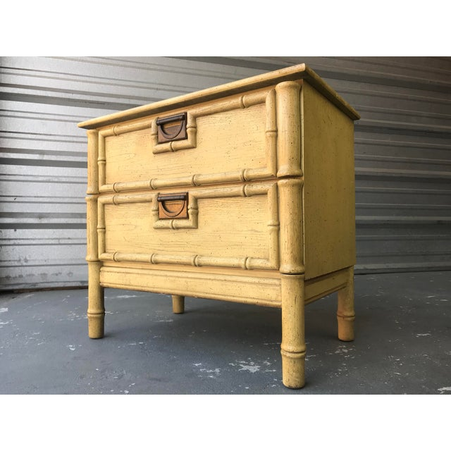 Fabulous Bohemian Chic Boho Faux Bamboo two drawer end table. Perfect space saving design with all original vintage...