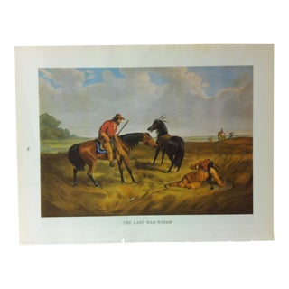 """1960s Currier & Ives Chronicles of America Color Print """"The Last War Whoop"""" For Sale"""