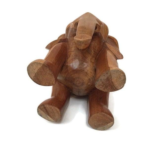 Wood Vintage Carved Wood Elephant Pedestal Statue 11 Inch For Sale - Image 7 of 12