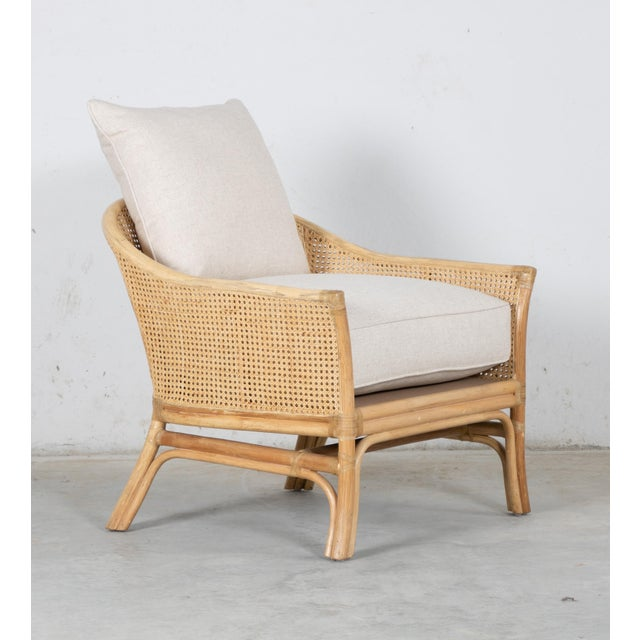 2010s Rustic David Francis Rattan and Cane Calistoga Lounge Chair For Sale - Image 5 of 5