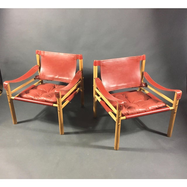 Scandinavian Modern Arne Norell Red Leather Sirocco Chairs - a Pair For Sale - Image 9 of 12