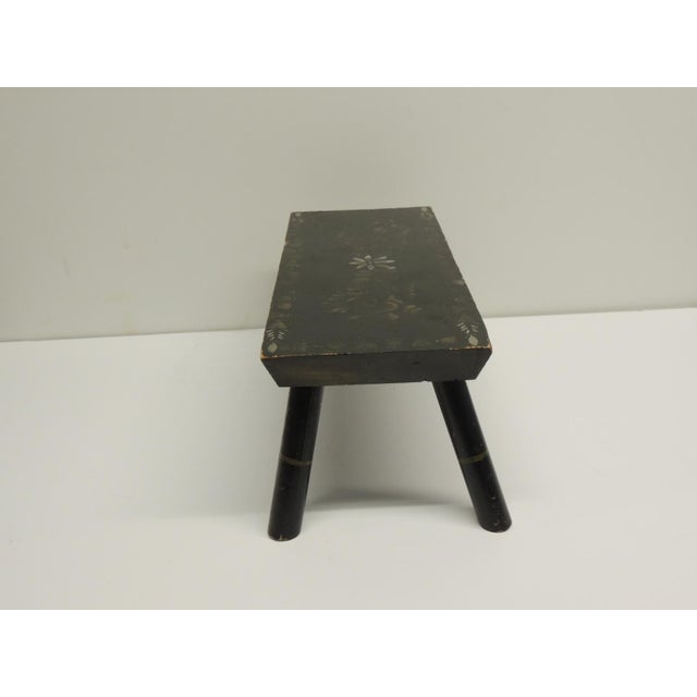 Painted Primitive Black Painted Stool - Image 5 of 5